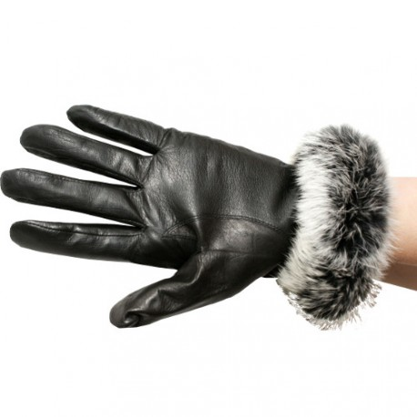LAMB LEATHER AND REX RABBIT GLOVES - SOT14