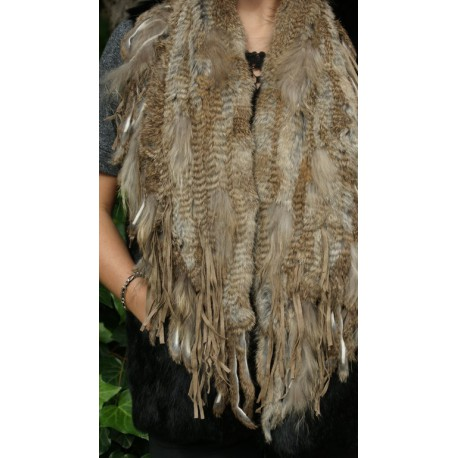 RABBIT SCARF FUR MIXED WITH REX OR RACCOON