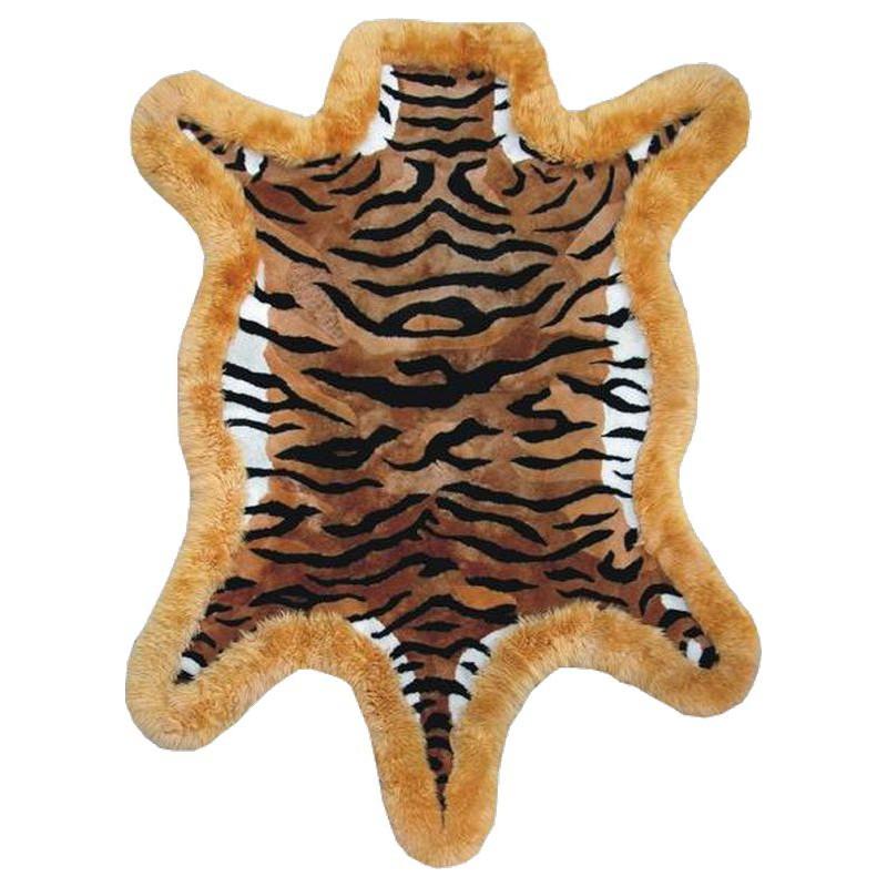 Tapis peau de mouton dessin tigre - Tapis peau de mouton synthetique ...