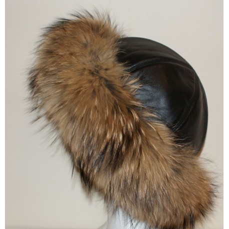 RACCOON AND LEATHER FUR HAT