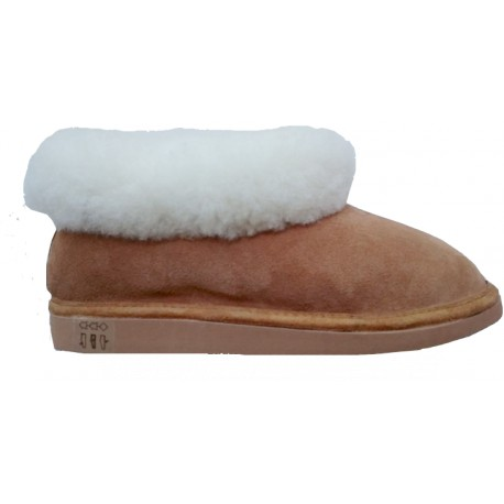 MIXED  SLIPPER IN SHEEPSKIN AND LEATHER