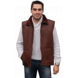 SHEEPSKIN SHEPHERD VEST - Brown or black Waxed