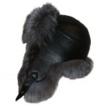 GREY FOX AND LEATHER FUR HAT