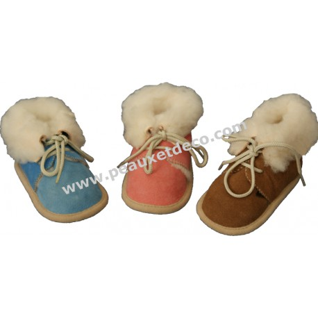 LAMBSKIN BABY SLIPPERS - Brown,  Pink, Blue