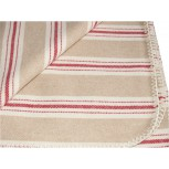 STRIPPED TARTAN CHALET RUG RED-BEIGE-IVORY