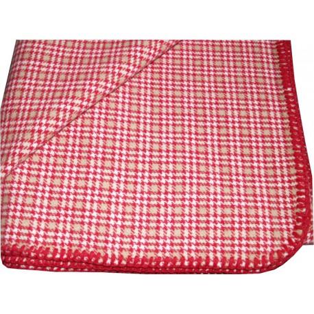 HOUNDSTOOTH TARTAN CHALET RUG RED-BEIGE-IVORY