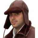 SHEEPSKIN PEAKED FUR HAT - Waxed Brown, Oak or Cognac